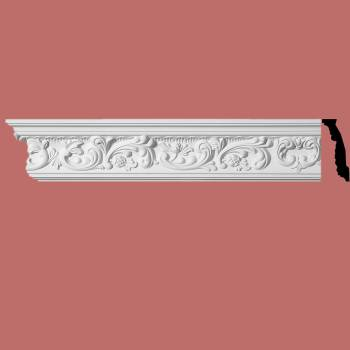 spec-<PRE>Ornate Cornice White Urethane Cannes 4 3/8&quot; H </PRE>