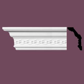 spec-<PRE>Ornate Cornice White Urethane 4&quot; H </PRE>