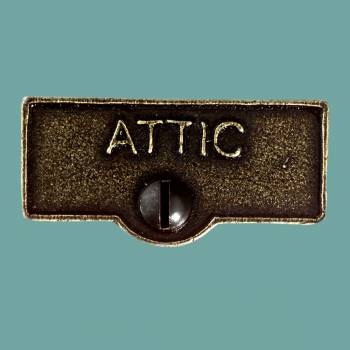 <PRE>Switch Plate Tags ATTIC Name Signs Labels Cast Brass </PRE>zoom2
