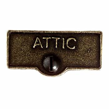 Switch Plate Tags ATTIC Name Signs Labels Cast Brass 11400grid
