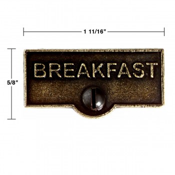 spec-<PRE>Switch Plate Tags BREAKFAST Name Signs Labels Cast Brass </PRE>