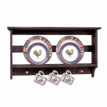 Kitchen Plate Racks Black/Autumn Hardwood 18.5