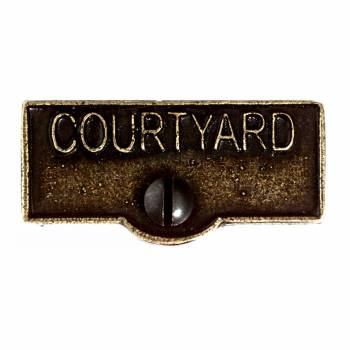 <PRE>Switch Plate Tags COURTYARD Name Signs Labels Cast Brass </PRE>zoom1