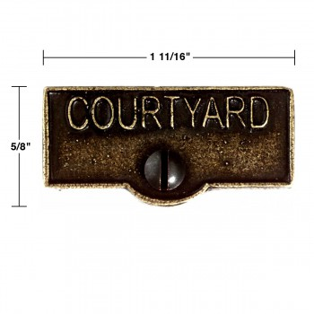 spec-<PRE>Switch Plate Tags COURTYARD Name Signs Labels Cast Brass </PRE>