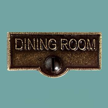 <PRE>Switch Plate Tags DINING ROOM Name Signs Labels Cast Brass </PRE>zoom2