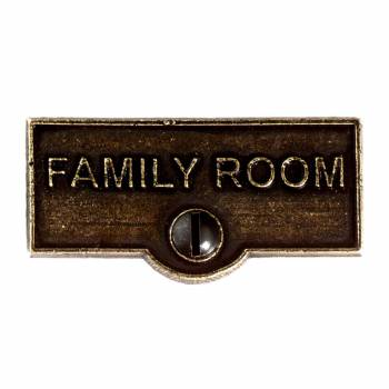 <PRE>Switch Plate Tags FAMILY ROOM Name Signs Labels Cast Brass </PRE>