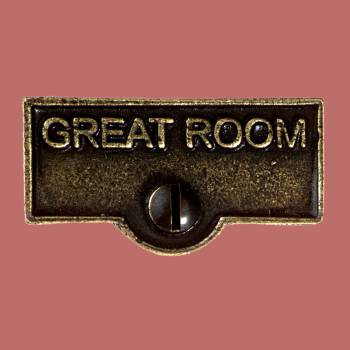 <PRE>Switch Plate Tags GREAT ROOM Name Signs Labels Cast Brass </PRE>zoom2