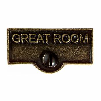 <PRE>Switch Plate Tags GREAT ROOM Name Signs Labels Cast Brass </PRE>zoom1