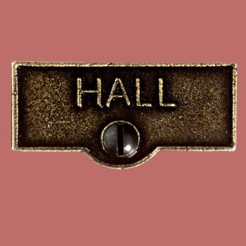 <PRE>Switch Plate Tags HALL Name Signs Labels Cast Brass </PRE>zoom2