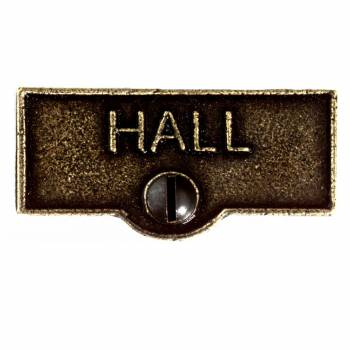 <PRE>Switch Plate Tags HALL Name Signs Labels Cast Brass </PRE>zoom1