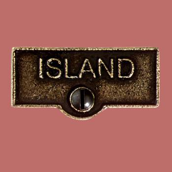 <PRE>Switch Plate Tags ISLAND Name Signs Labels Cast Brass </PRE>zoom2