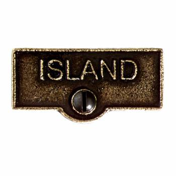 Switch Plate Tags ISLAND Name Signs Labels Cast Brass 11417grid