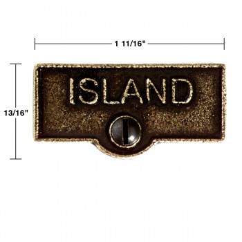spec-<PRE>Switch Plate Tags ISLAND Name Signs Labels Cast Brass </PRE>