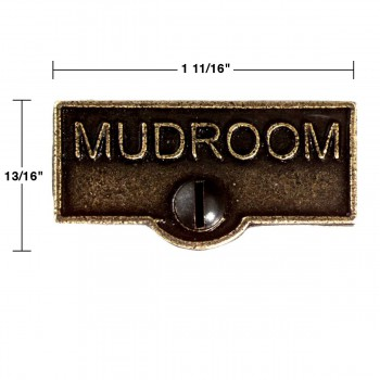 spec-<PRE>Switch Plate Tags MUDROOM Name Signs Labels Cast Brass </PRE>