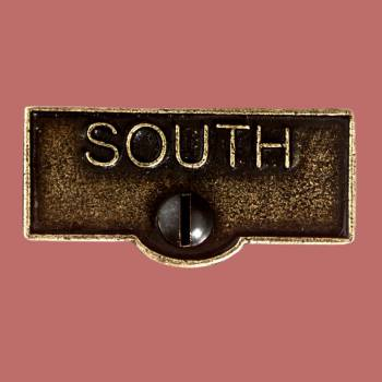 <PRE>Switch Plate Tags SOUTH Name Signs Labels Cast Brass </PRE>