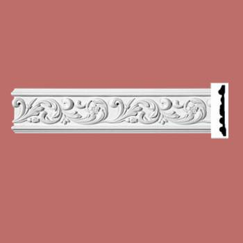 spec-<PRE>Ornate Crown Molding White Urethane 4 7/8&quot; H Kenmorer </PRE>