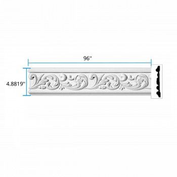 "spec-<PRE>Ornate Crown Molding White Urethane  96"" L  Kenmorer </PRE>"