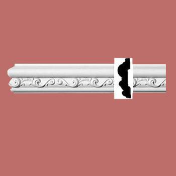 "spec-<PRE>Ornate Crown Molding White Urethane 3 1/8"" H Roslindale </PRE>"