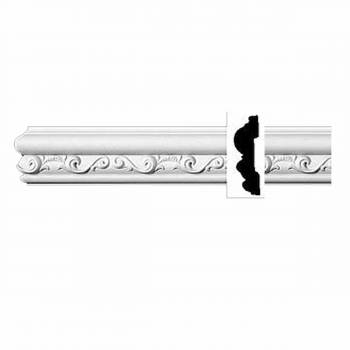 "Ornate Crown Molding White Urethane 3 1/8"" H Roslindale 11597grid"