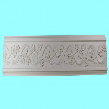 spec-<PRE>Crown Molding White Urethane 4 1/4&quot; H Belle Maison Ornate </PRE>