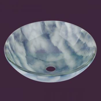 Cirrus Clouds - Blue/White Glass Vessel Sink - Round - Glass sinks, Glass sink info & unique Glass accessories, quantity discounts on Glass sinks, Glass pedestal sinks, Glass wall mount sinks, Glass console sinks, counter top Glass sinks, Glass counter top sinks, Glass pedestal sinks, bathroom fixtures, Glass bathroom sinks, sink faucets & free shipping by Renovator's Supply.