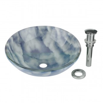 Tempered Glass Vessel Sink with Drain, Blue-White Cloud Design Bowl Sink 11639grid