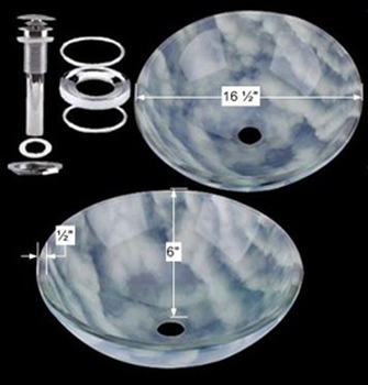 Glass Sinks - Cirrus Clouds - Blue/White Glass Vessel Sink - Round by the Renovator's Supply