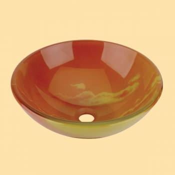 <PRE>Tempered Glass Vessel Sink w/ Drain, Orange Sunset Design Double Layer Bowl Sink</PRE>