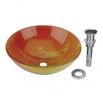 Tempered Glass Vessel Sink w/ Drain, Orange Sunset Design Double Layer Bowl Sink11642grid