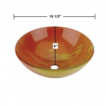 spec-<PRE>Tempered Glass Vessel Sink w/ Drain, Orange Sunset Design Double Layer Bowl Sink</PRE>