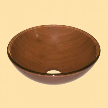 Madera Hermosa - Brown  Glass Vessel Sink - Round - Glass sinks, Glass sink info & unique Glass accessories, quantity discounts on Glass sinks, Glass pedestal sinks, Glass wall mount sinks, Glass console sinks, counter top Glass sinks, Glass counter top sinks, Glass pedestal sinks, bathroom fixtures, Glass bathroom sinks, sink faucets & free shipping by Renovator's Supply.