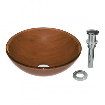 Wood Grain Tempered Glass Vessel Sink with Drain, Double Layer Brown Bowl Sink11644grid