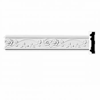 "Crown Molding White Urethane 3 1/4"" H Hartford Ornate 11655grid"