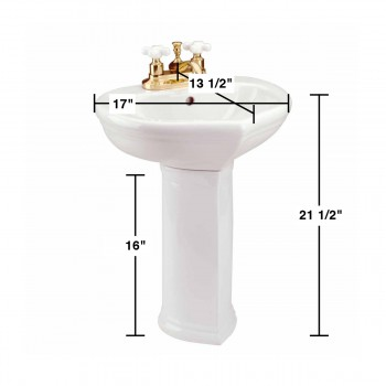 spec-<PRE>Bathroom Pedestal White China Sweet Heart Children's 11839 </PRE>