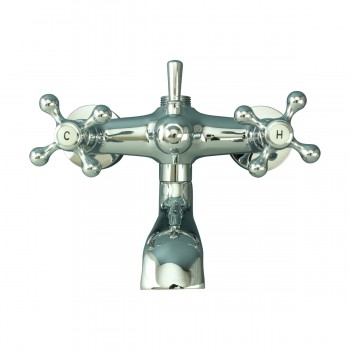 <PRE>Tub Faucet Part Chrome Cross 3 Handles Deck Mount Part Only </PRE>zoom2