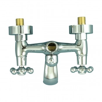 <PRE>Tub Faucet Part Chrome Cross 3 Handles Deck Mount Part Only </PRE>zoom8
