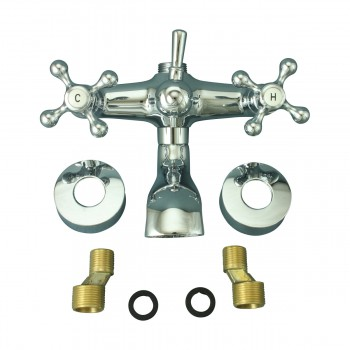 <PRE>Tub Faucet Part Chrome Cross 3 Handles Deck Mount Part Only </PRE>zoom1
