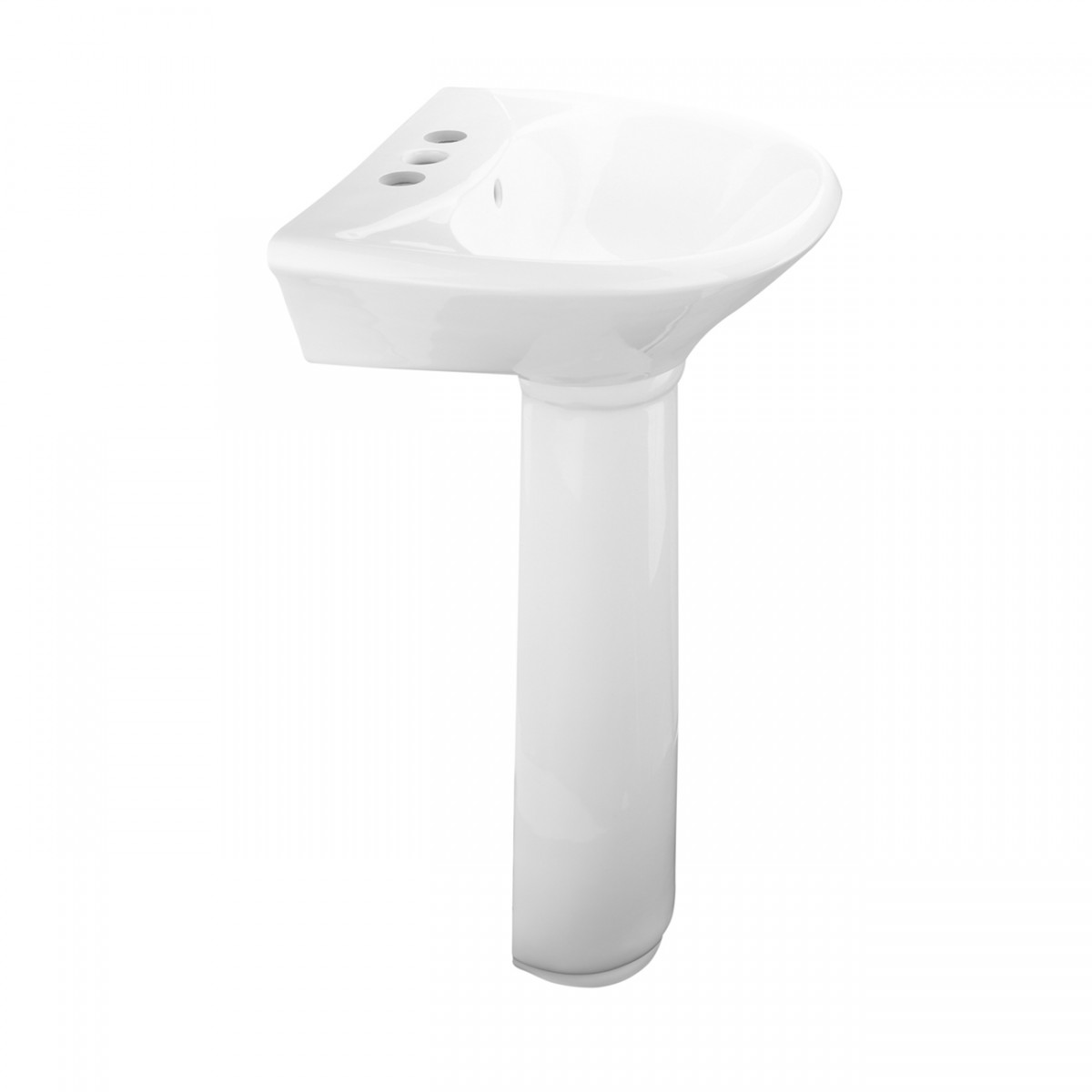 Renovators Supply Small Bathroom White Pedestal Sink 4 Centers with Overflow Cute Elegant Fancy Small Petite Narrow Space Saving Bathroom Pedestal Sink Centerset Faucet