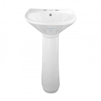 White China Bathroom Pedestal Sink Centerset Faucet Holes with Overflow