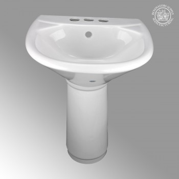 <PRE>Child's Mini Pedestal Sink White Porcelain Toddlers 4in Centerset with Overflow</PRE>