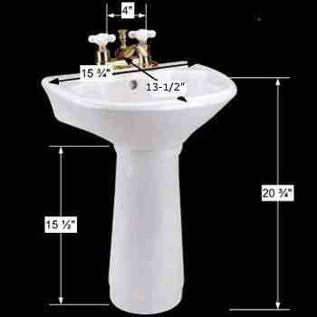 spec-<PRE>Child's Mini Pedestal Sink White Porcelain Toddlers 4in Centerset with Overflow</PRE>