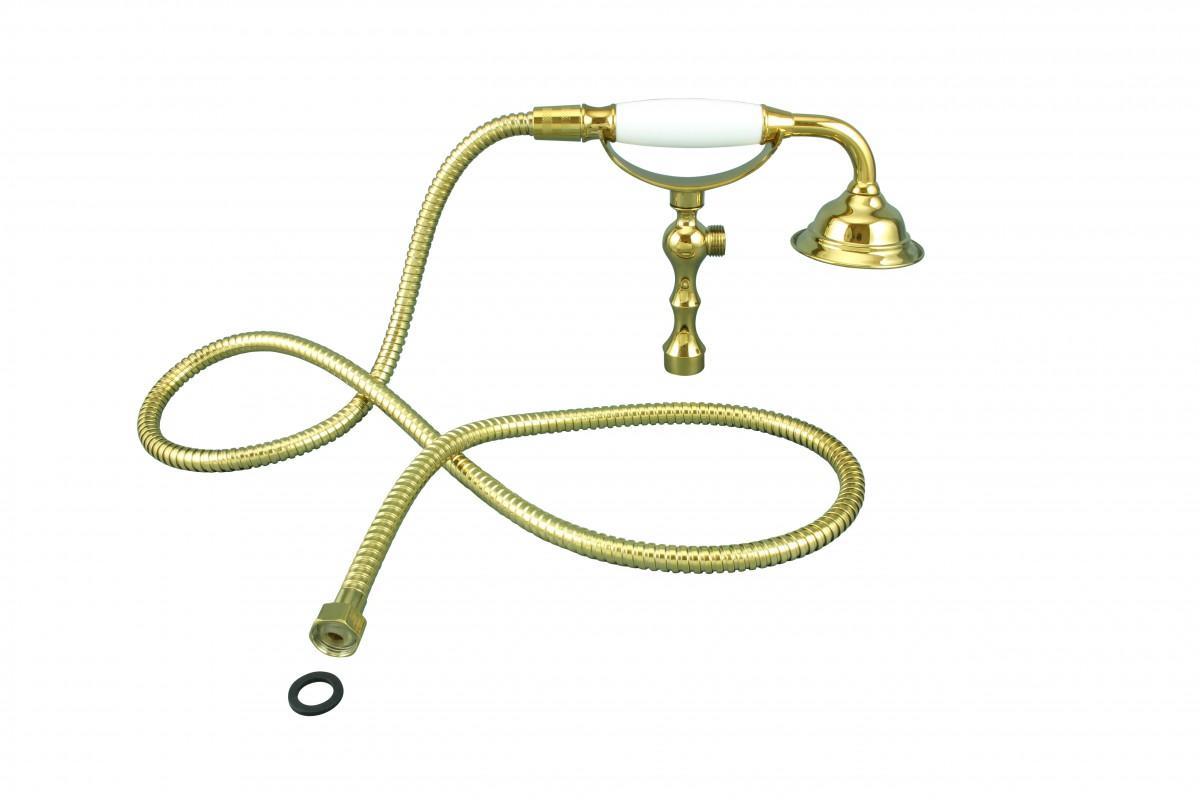 Handheld Telephone Shower Set Gold PVD 1 Handle Deck Mount
