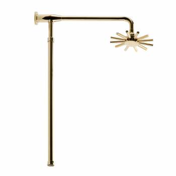Gold PVD Brass Adjustable Shower Riser & Rainfall Head 11984grid