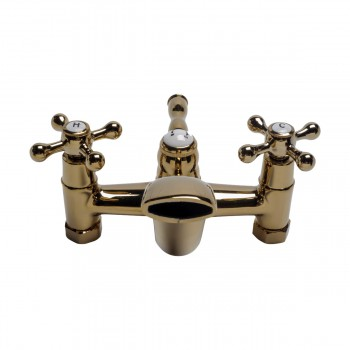 Tub Shower Faucet Part Gold PVD Brass Cross Handles Bathroom Faucet Part Faucet Part Faucet Parts