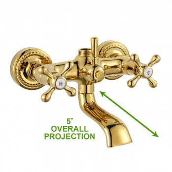 spec-<PRE>Tub Shower Faucet Part Gold PVD Brass Cross Handles </PRE>