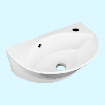 <PRE>Small Wall Mount Sink White Porcelain with Overflow Left Side Faucet Hole</PRE>zoom2