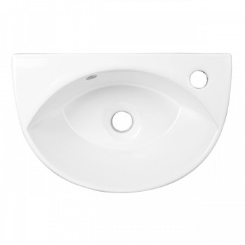 <PRE>Small Wall Mount Sink White Porcelain with Overflow Left Side Faucet Hole</PRE>zoom4