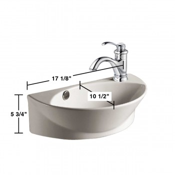 spec-<PRE>Small Wall Mount Sink White Porcelain with Overflow Left Side Faucet Hole</PRE>