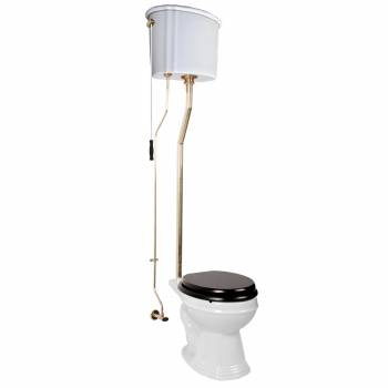 Renovator's Supply White High Tank Toilet Round Bowl Rust Resistant Brass L-Pipe12039grid