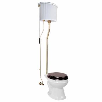 White Porcelain High Tank Toilet with Brass L-Pipe and Elongated Toilet Bowl12040grid